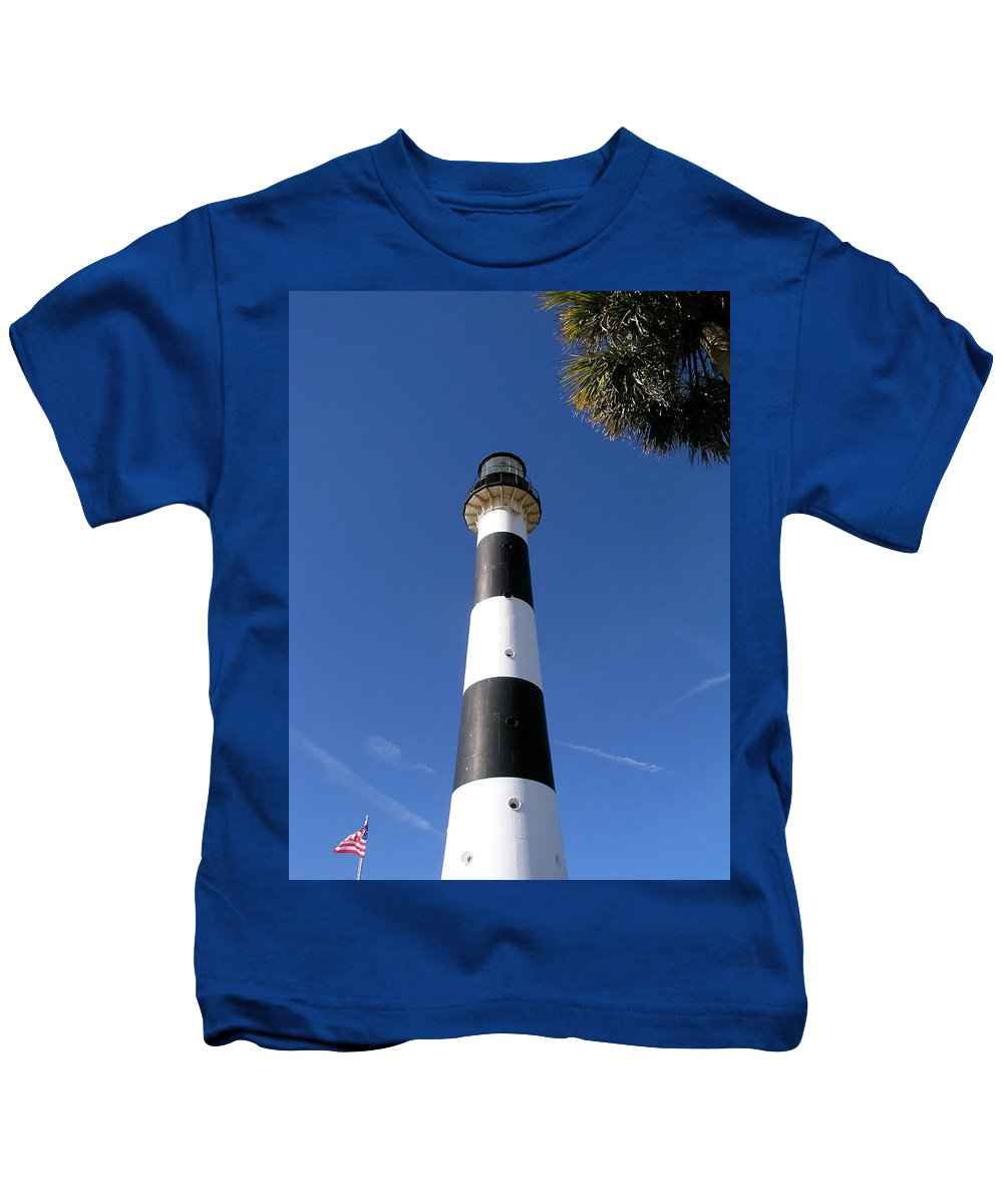 Cape; Canaveral; Light; Lighthouse; Lighthousekeeper; Keeper; Stairs; Kennedy; Space; Center; Air; F Kids T-Shirt featuring the photograph Canaveral Light by Allan Hughes