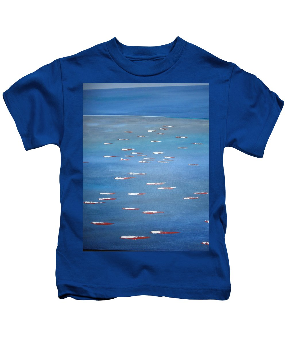 Abstract Kids T-Shirt featuring the painting Canoe Race In Huahine by Solenn Carriou