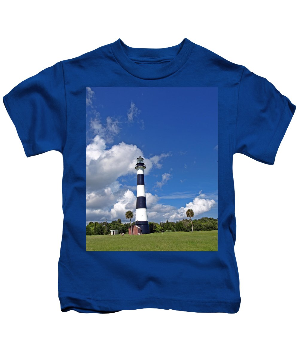Lighthouse; Light; Canaveral; Cape; Cape Canaveral; Ccafs; Florida; East; Coast; Kennedy; Space; Cen Kids T-Shirt featuring the photograph Cape Canaveral Light In Florida by Allan Hughes