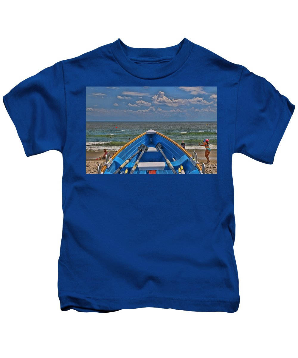 Cape May Rescue Kids T-Shirt featuring the photograph Cape May N J Rescue Boat 2 by Allen Beatty