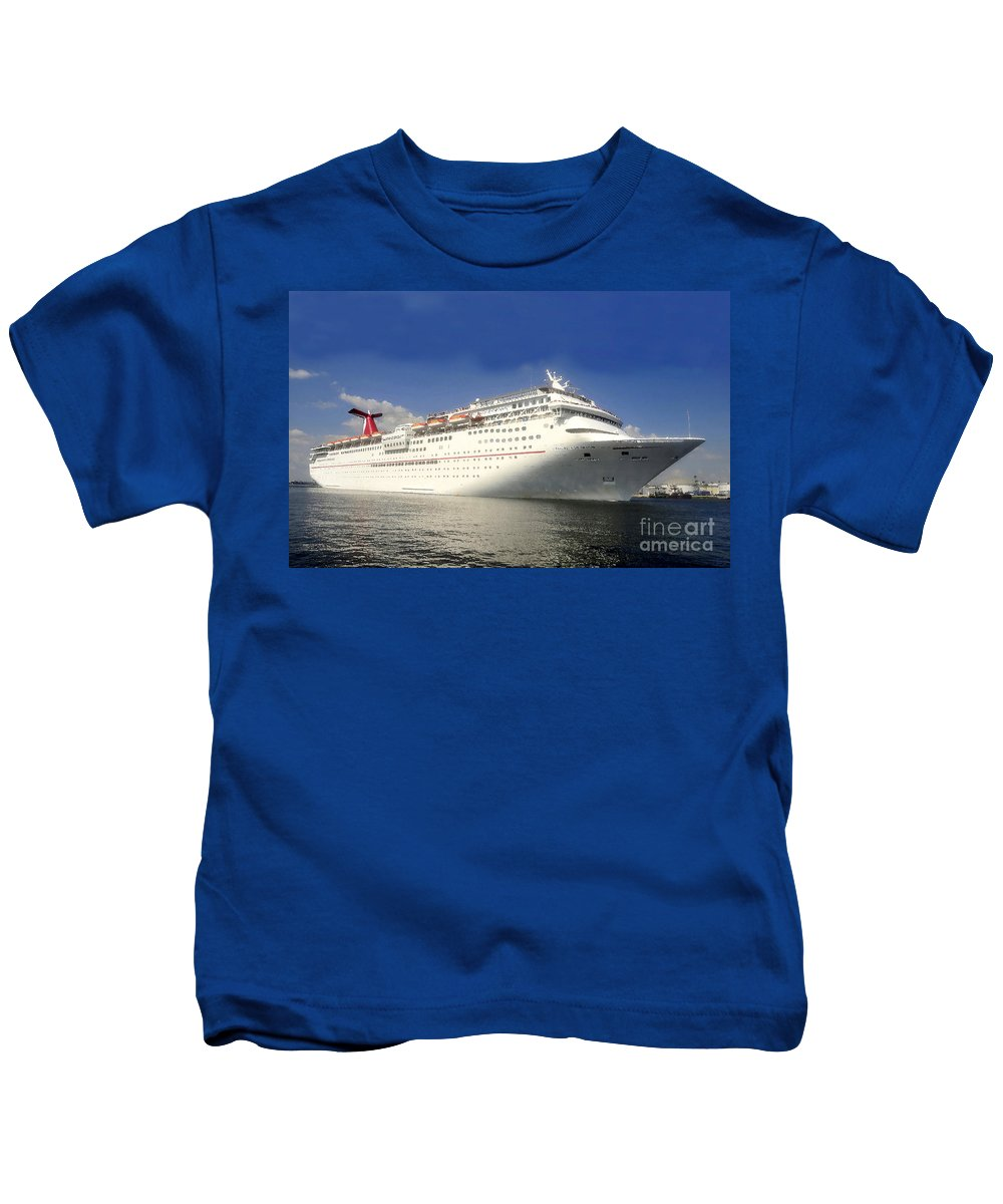 Cruise Ship Kids T-Shirt featuring the painting Carnival Inspiration Cruise Ship by David Lee Thompson