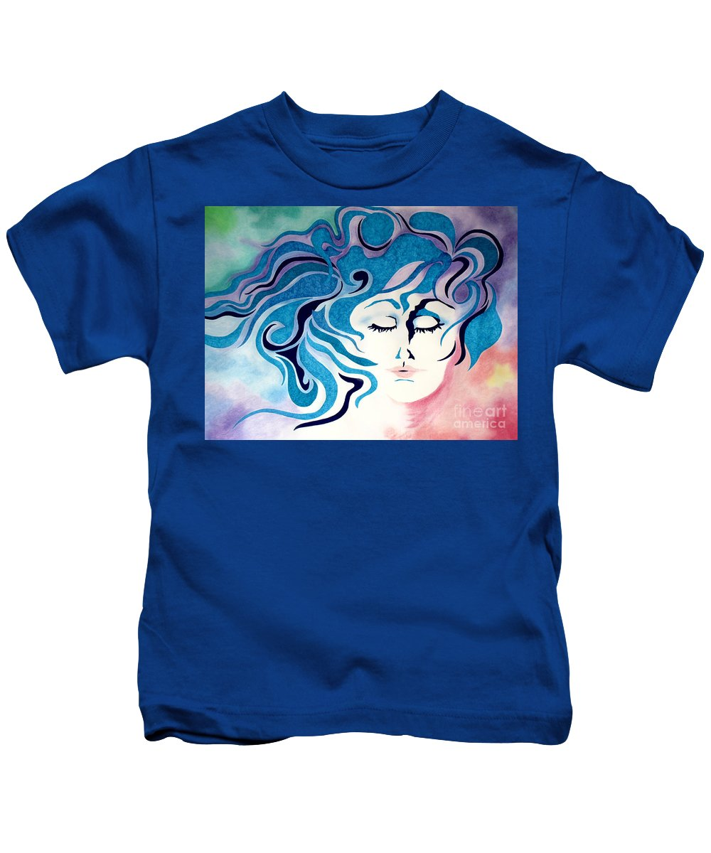 Abstract Kids T-Shirt featuring the pastel Carried By Angels by Kathleen Allen