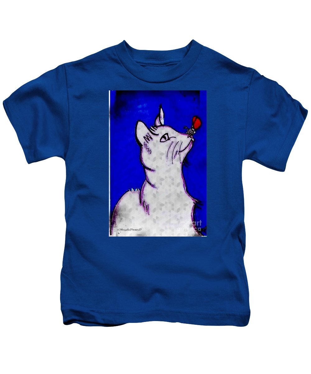 Cat Kids T-Shirt featuring the mixed media Cat Found A Butterfly by MaryLee Parker