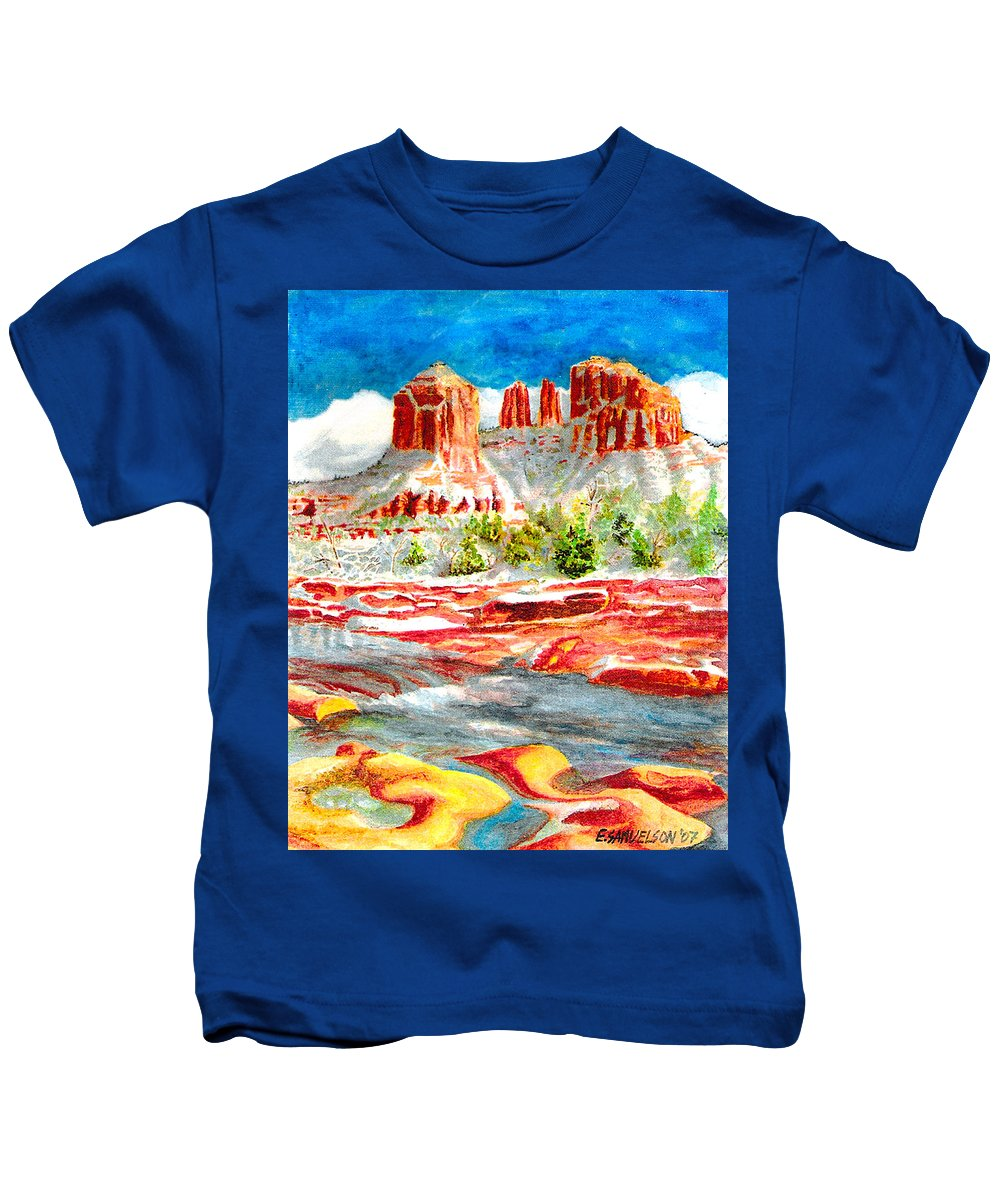 Sedona Kids T-Shirt featuring the painting Cathedral Rock Crossing by Eric Samuelson