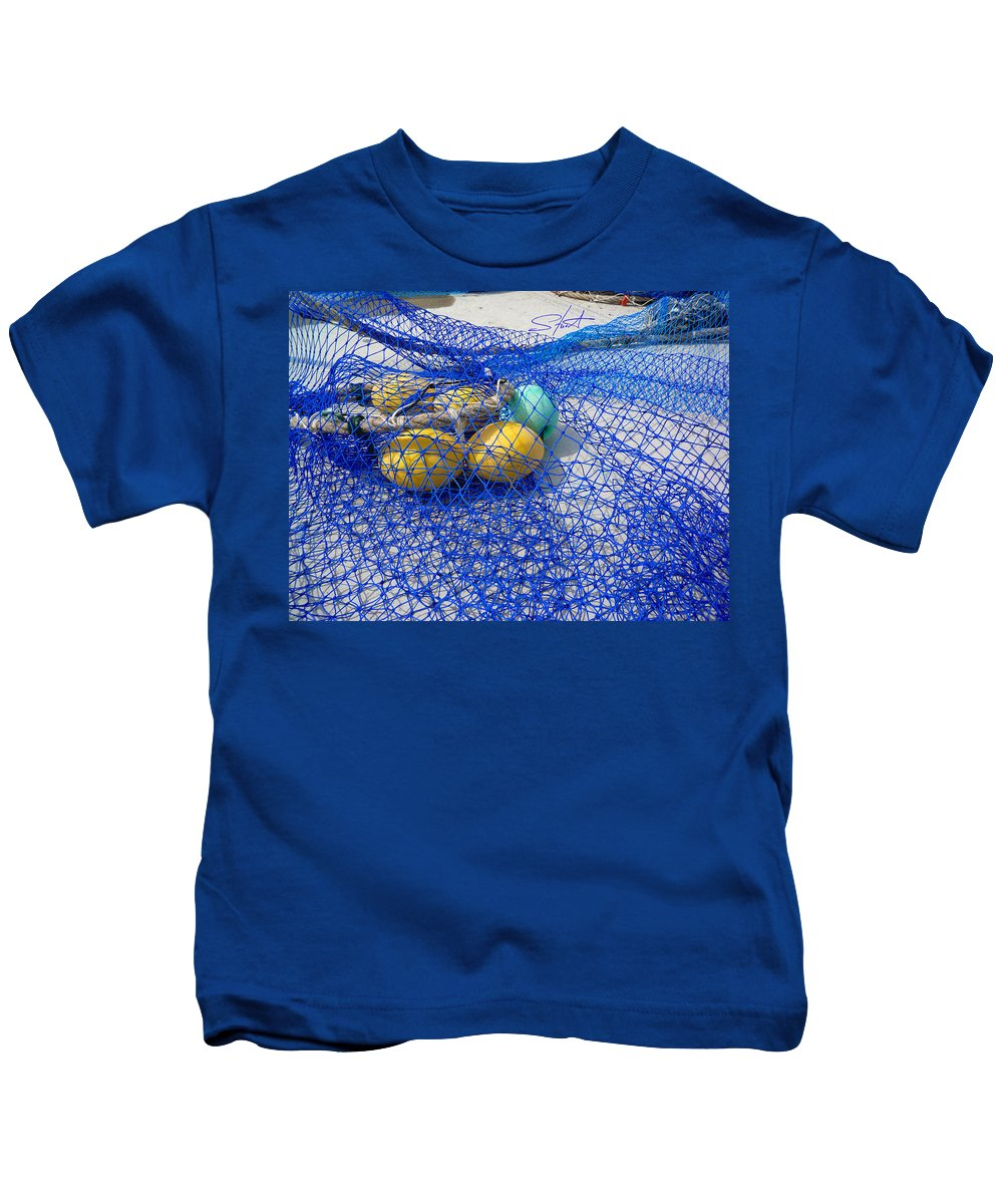 Fishing Net Kids T-Shirt featuring the photograph Caught by Charles Stuart