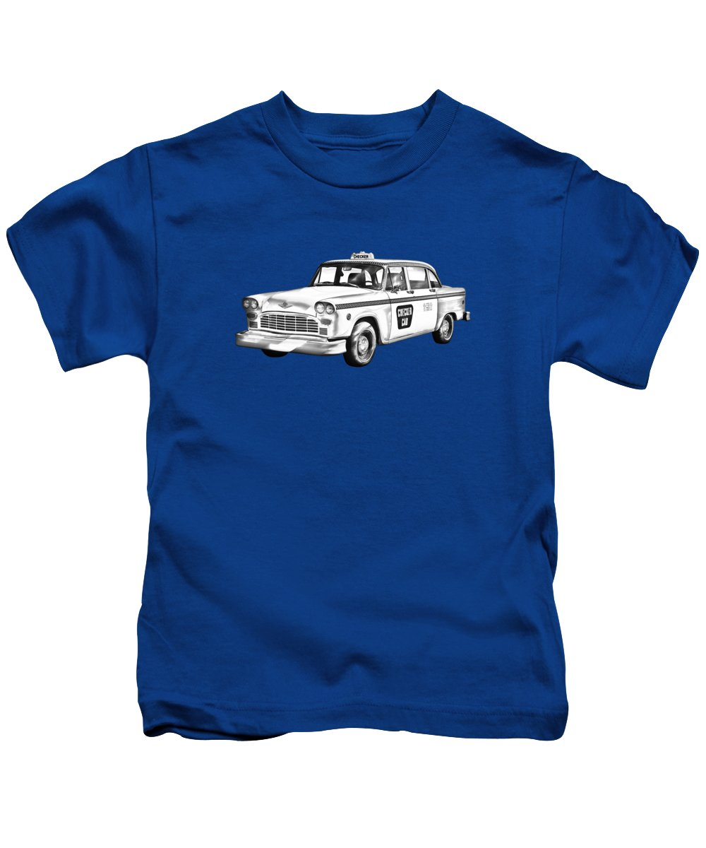 Checkered Cab Kids T-Shirt featuring the photograph Checkered Taxi Cab Illustrastion by Keith Webber Jr