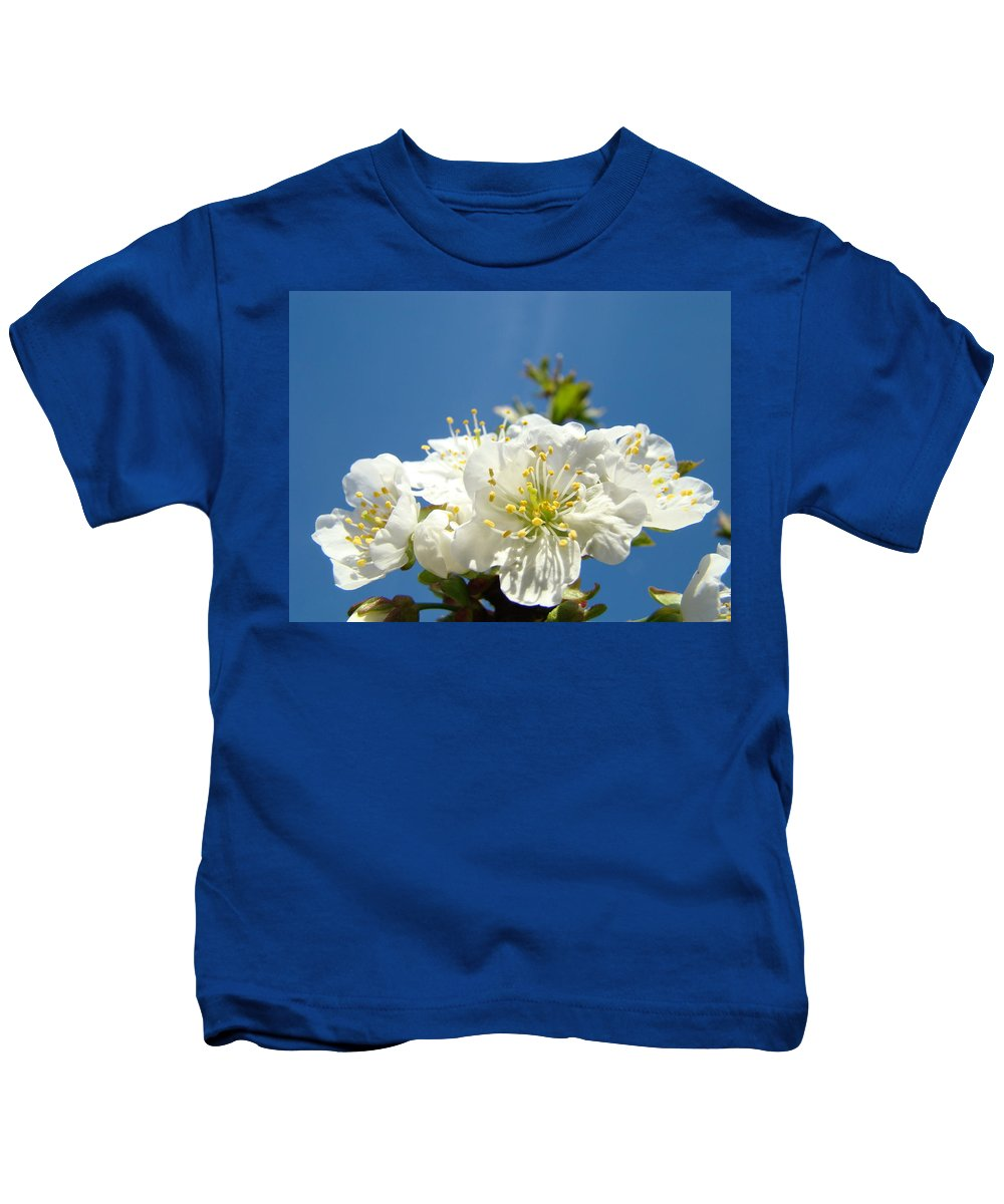 Blossom Kids T-Shirt featuring the photograph Cherry Blossoms Art White Spring Tree Blossom Baslee Troutman by Baslee Troutman