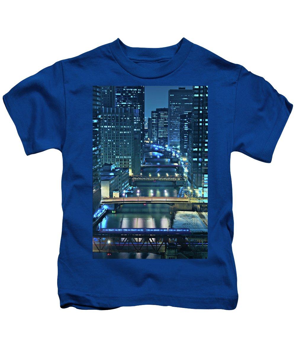 Chicago Kids T-Shirt featuring the photograph Chicago Bridges by Steve Gadomski