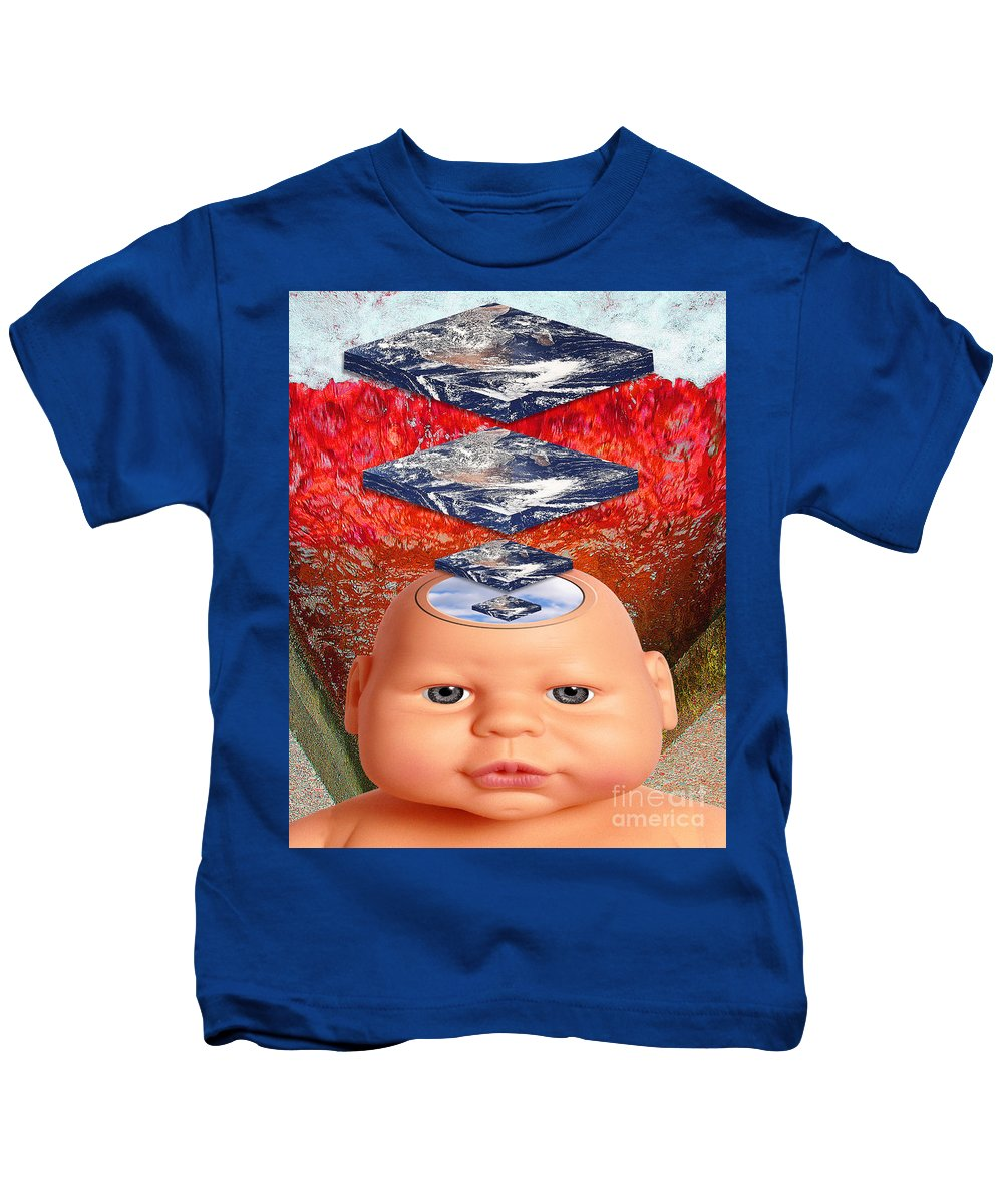 Red Kids T-Shirt featuring the digital art Child In Flat Worlds by Keith Dillon