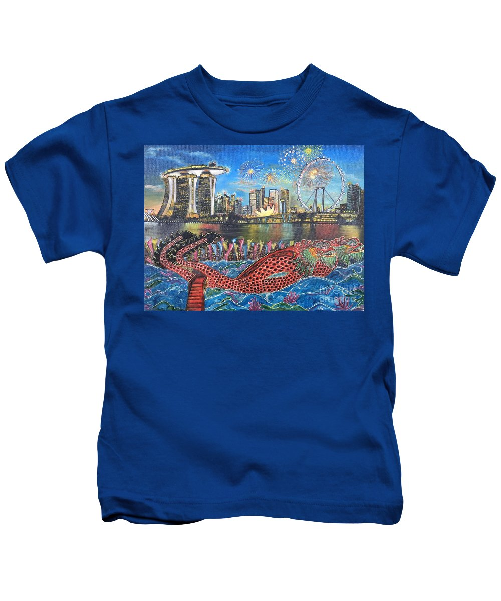 Sightseeing Kids T-Shirt featuring the painting Chingay Parade by Ankita Gupta