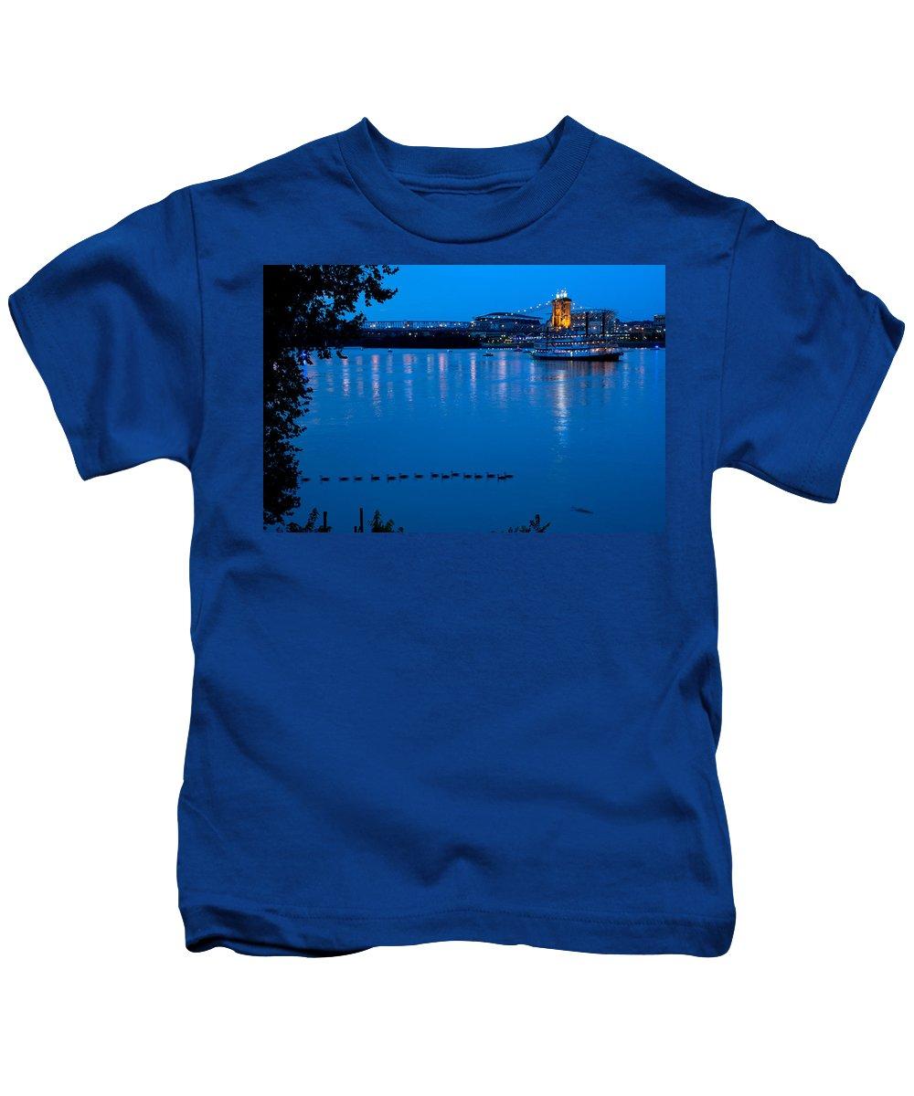 Allstars Game Kids T-Shirt featuring the photograph Cincinnati Belle Suspension Bridge by Randall Branham