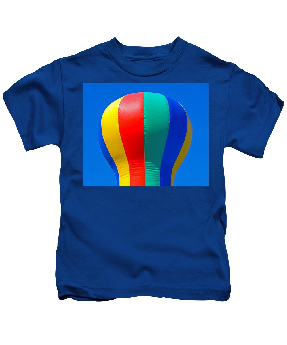 Red; Green; Yellow; Blue; Pillow; Sky; Circus; Carnival; Country; Fair; Ball; Balloon; Colors; Color Kids T-Shirt featuring the photograph Circus In The Sky - Two by Allan Hughes