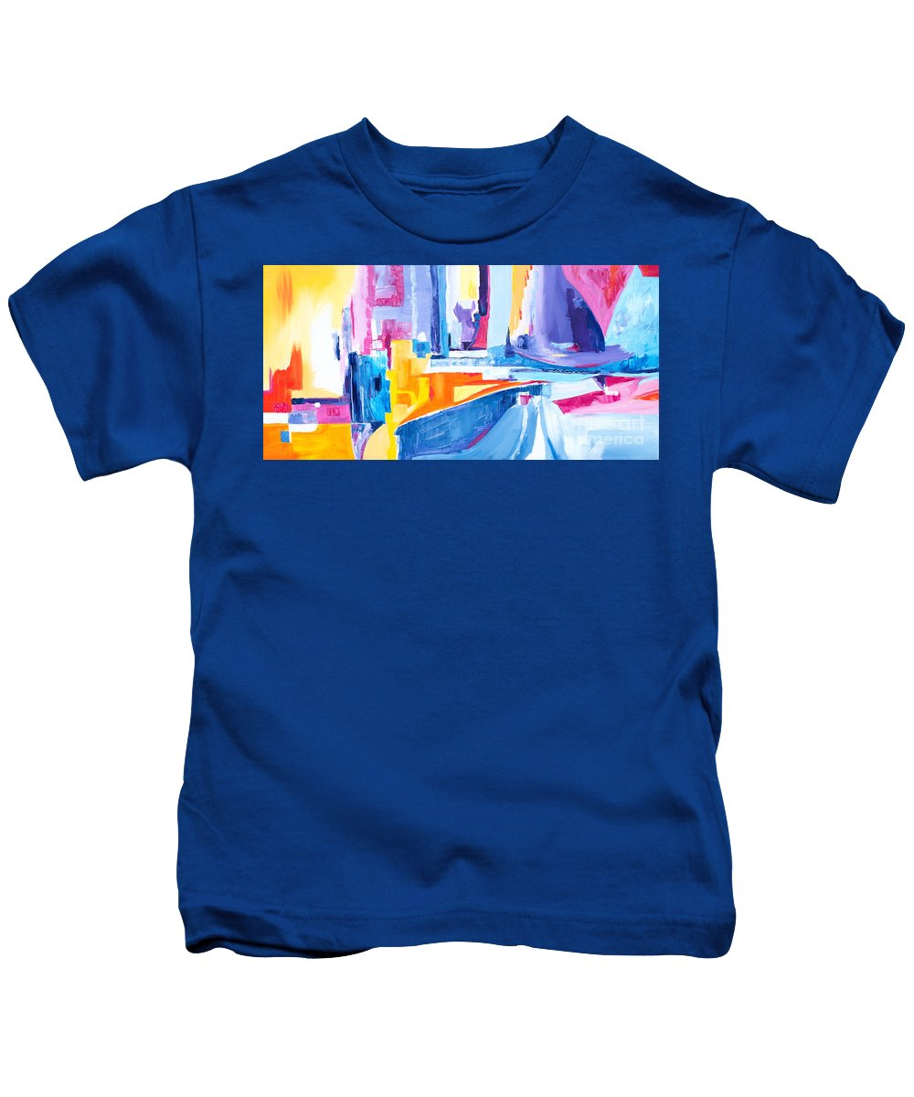 Original Artwork 48 X 24x 2 Dynamic Geometric Shapes Vibrant Colors Kids T-Shirt featuring the painting City At Waters Edge by Expressionistart studio Priscilla Batzell
