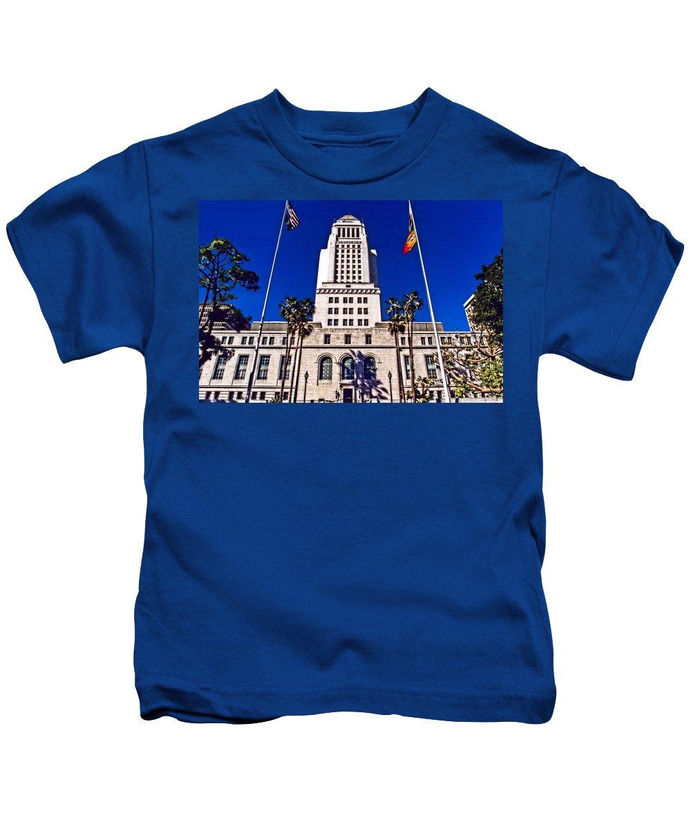 Los Angeles Kids T-Shirt featuring the photograph City Hall La by DJ Florek