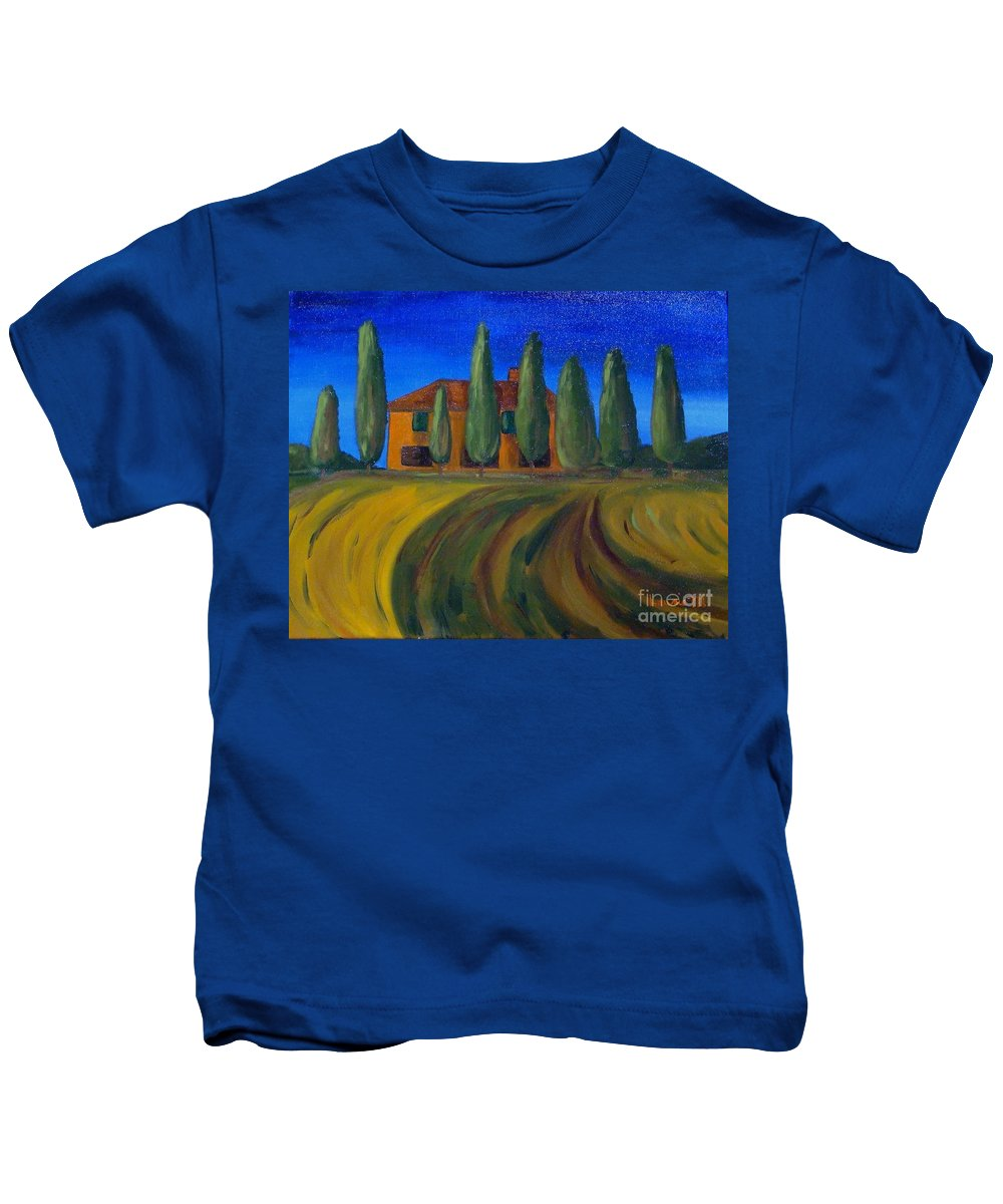 Tuscany Kids T-Shirt featuring the painting Classic Tuscan Sunset by Laurie Morgan