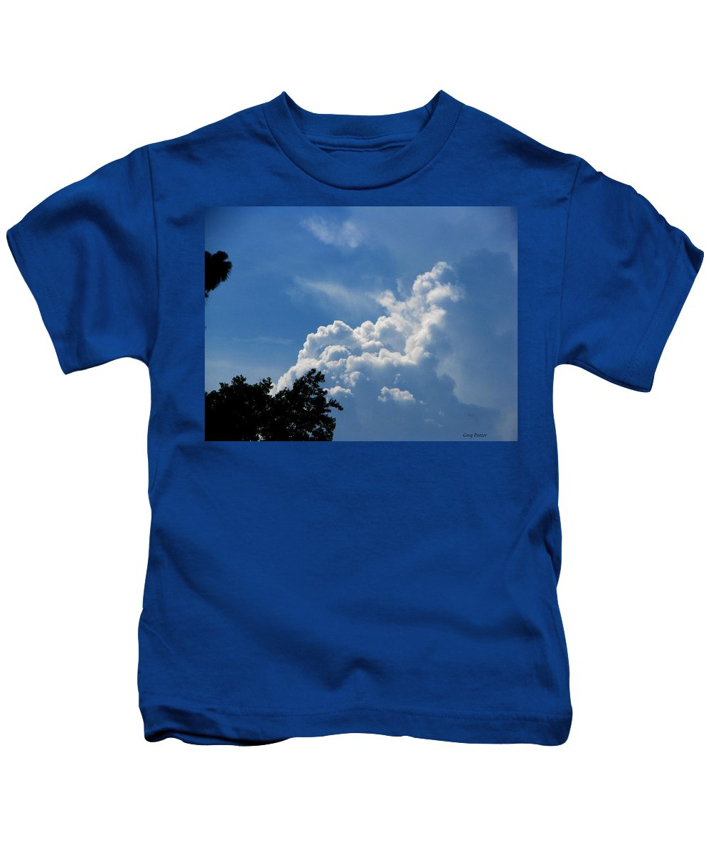 Patzer Kids T-Shirt featuring the photograph Clouds Of Art by Greg Patzer
