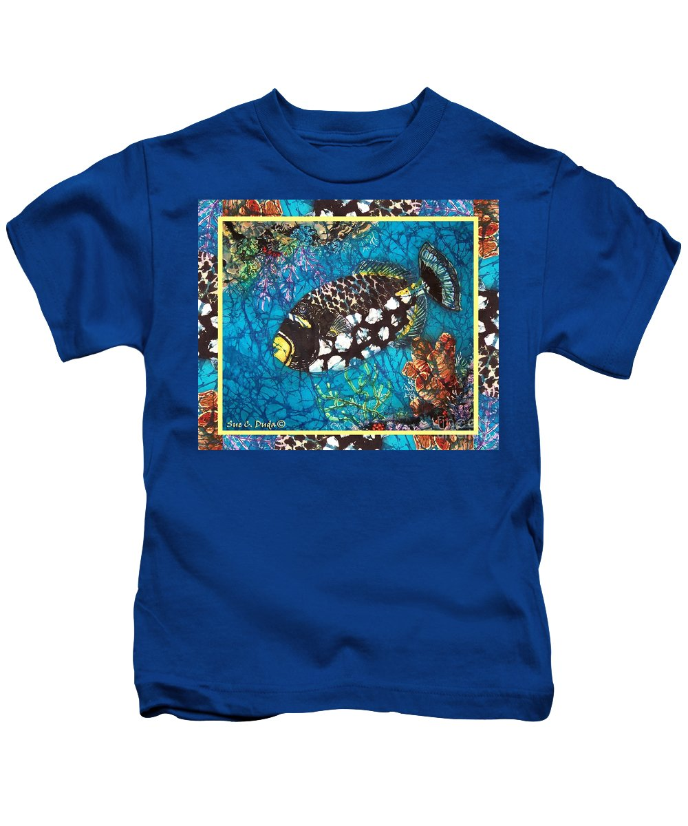 Batik Kids T-Shirt featuring the painting Clown Triggerfish-bordered by Sue Duda