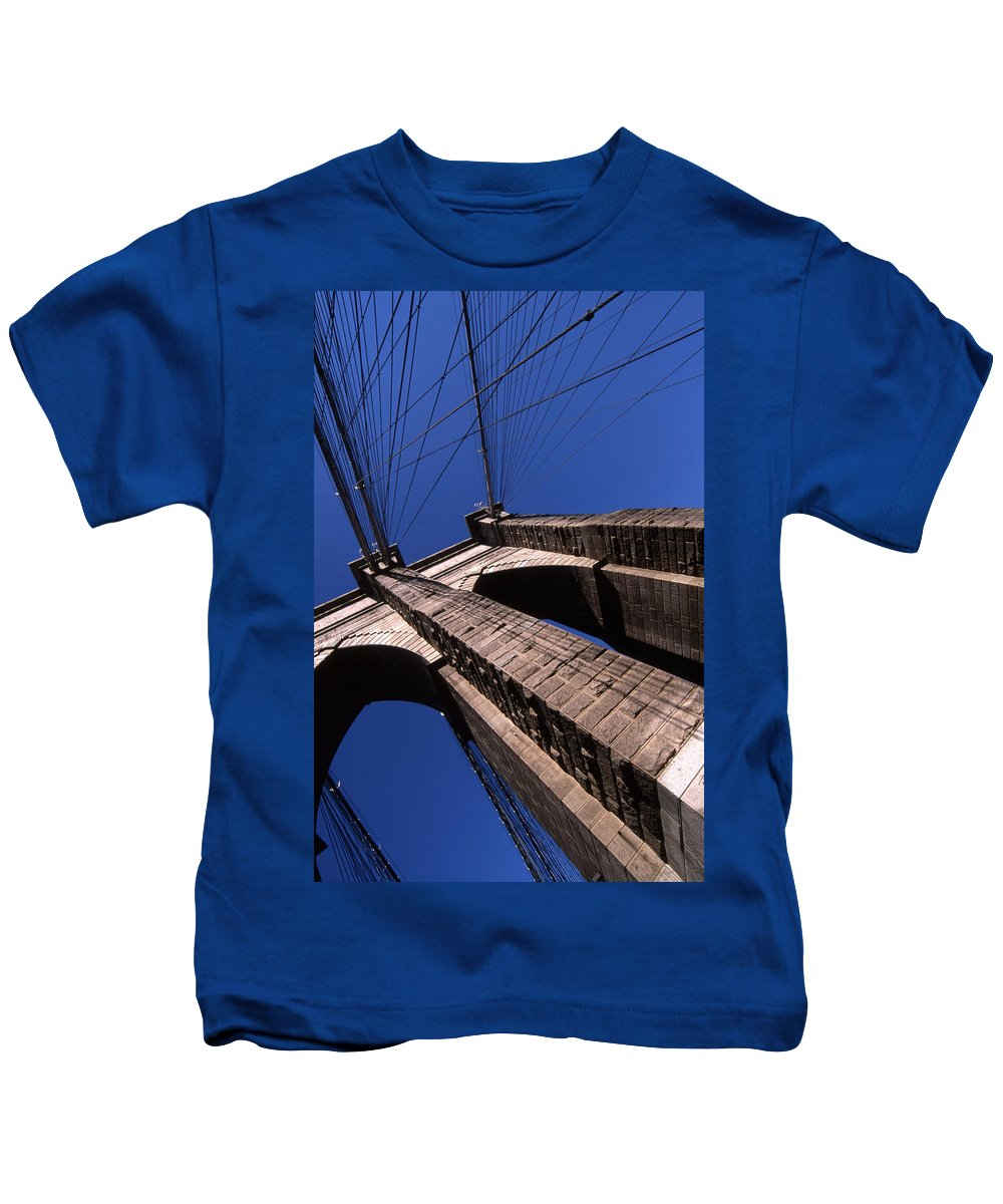Landscape Brooklyn Bridge New York City Kids T-Shirt featuring the photograph Cnrg0408 by Henry Butz