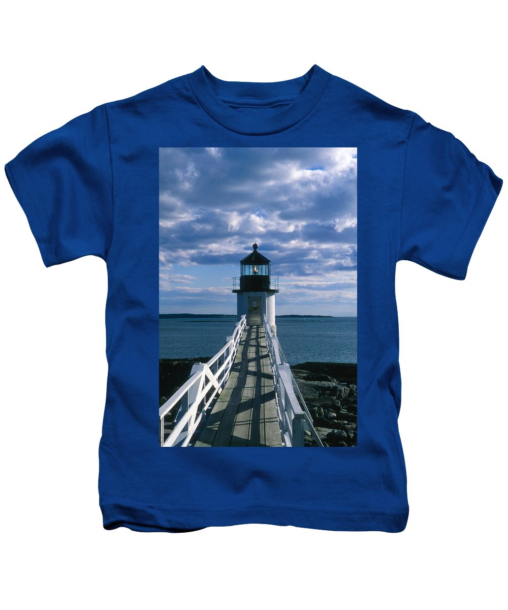 Landscape Lighthouse New England Marshall Point Light Port Clyde Kids T-Shirt featuring the photograph Cnrh0603 by Henry Butz