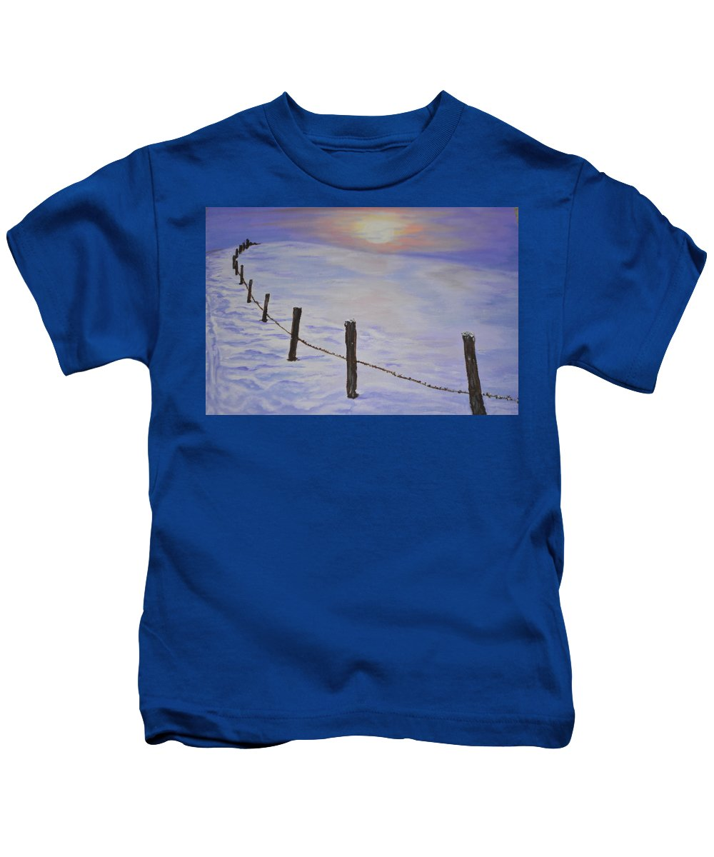 Winter Kids T-Shirt featuring the painting Cold Sience by Irina Astley