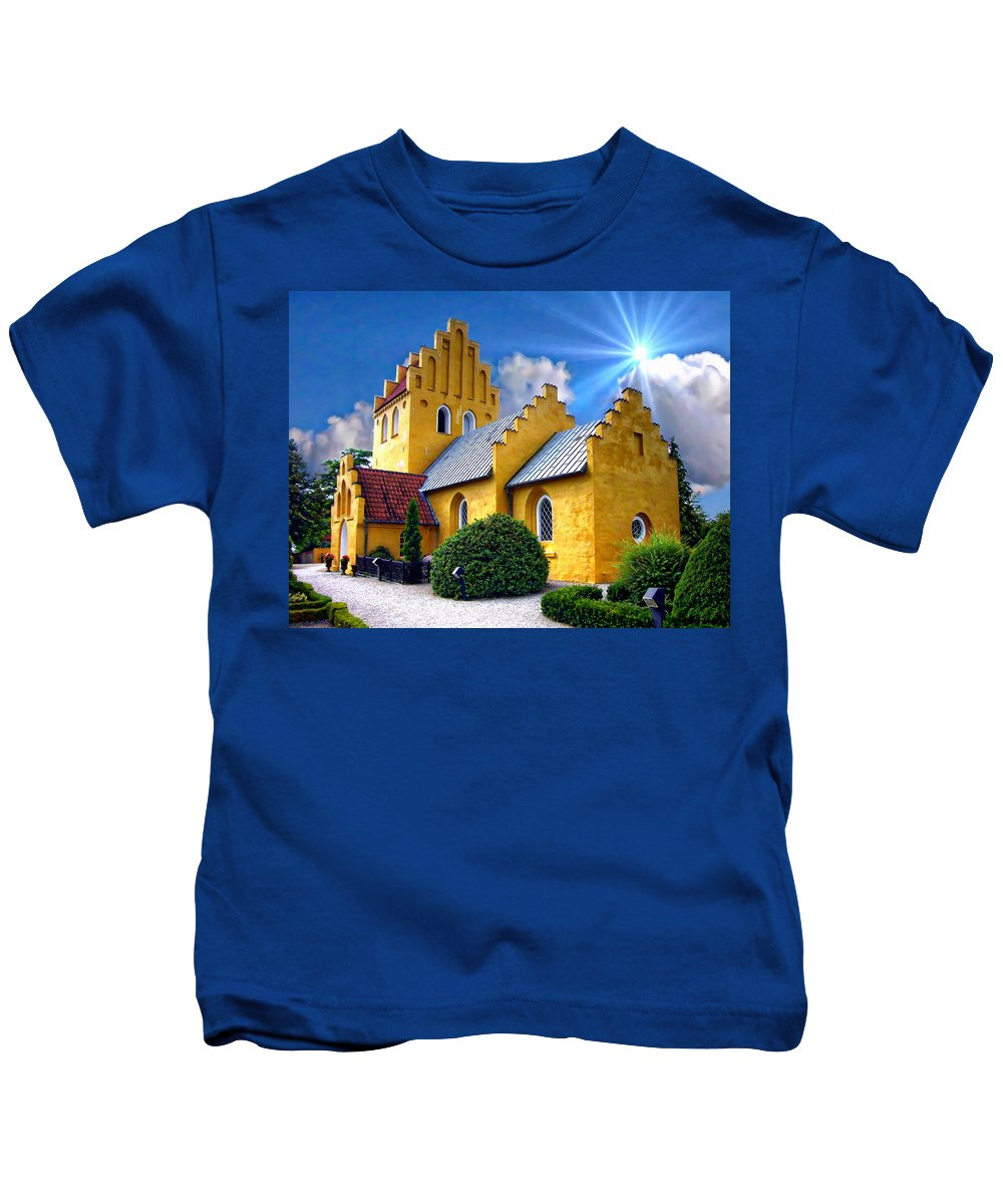Yellow Kids T-Shirt featuring the photograph Colorful Danish Church by Anthony Dezenzio