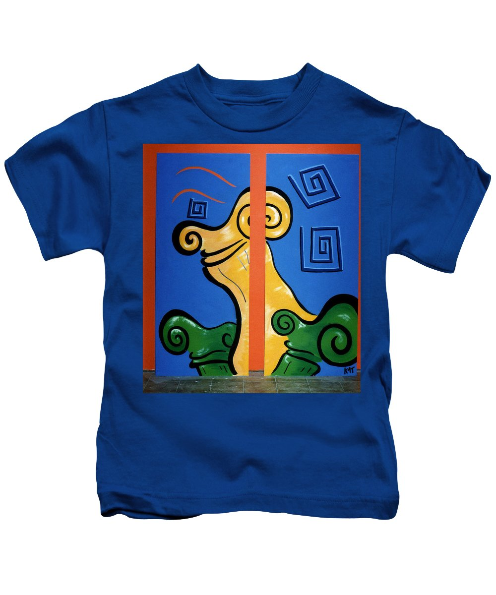 Kids T-Shirt featuring the painting Columns by Catt Kyriacou