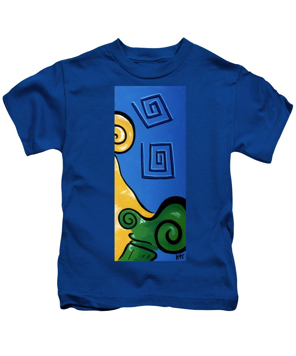 Kids T-Shirt featuring the painting Columns Right Side by Catt Kyriacou