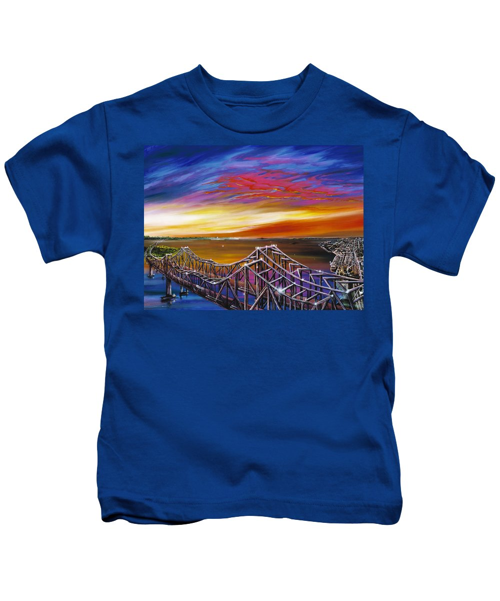 Clouds Kids T-Shirt featuring the painting Cooper River Bridge by James Christopher Hill