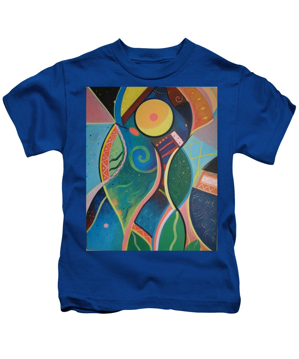 Abstract Kids T-Shirt featuring the painting Cosmic Carnival V Aka The Dance by Helena Tiainen