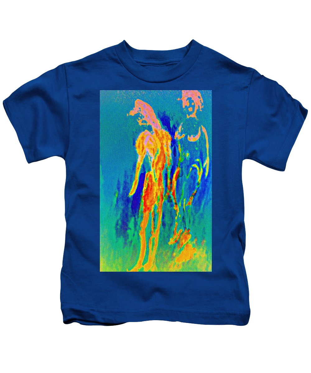 House Kids T-Shirt featuring the painting the hot dream of a love burning couple or I am actually the victim around here  by Hilde Widerberg