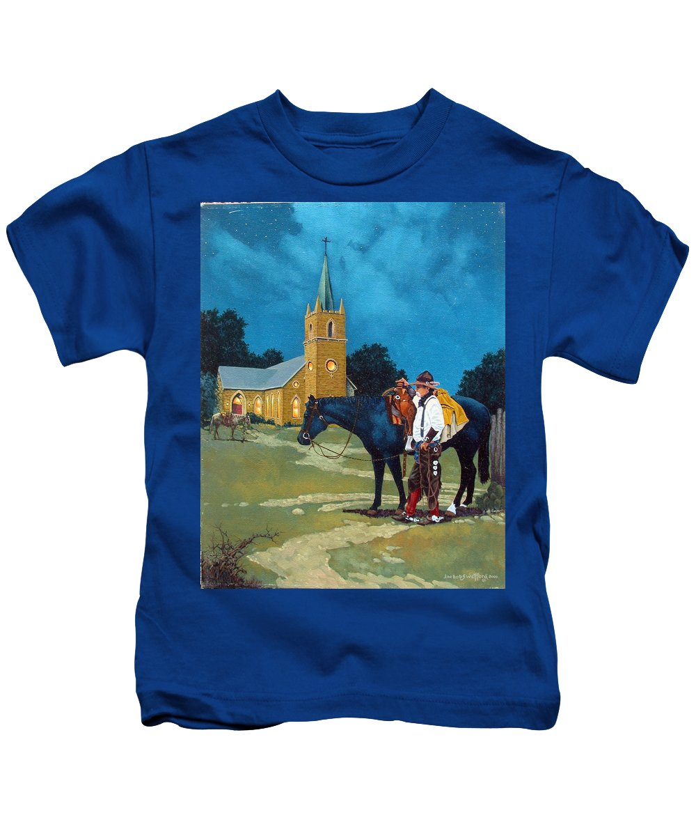 Western Kids T-Shirt featuring the painting Cowboy's Prayer by Jim Bob Swafford