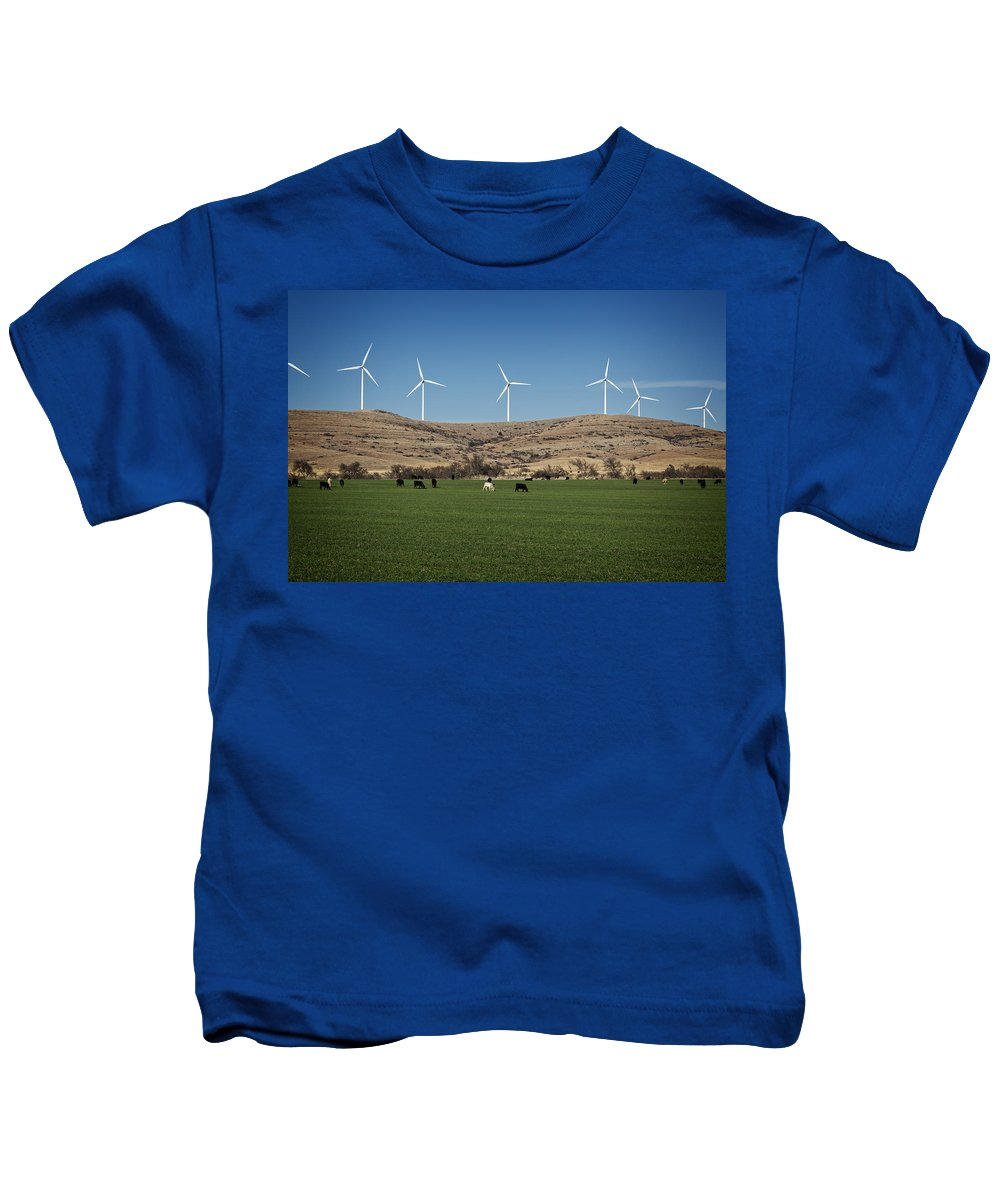 Nature Kids T-Shirt featuring the photograph Cows And Windmills by Ricky Barnard
