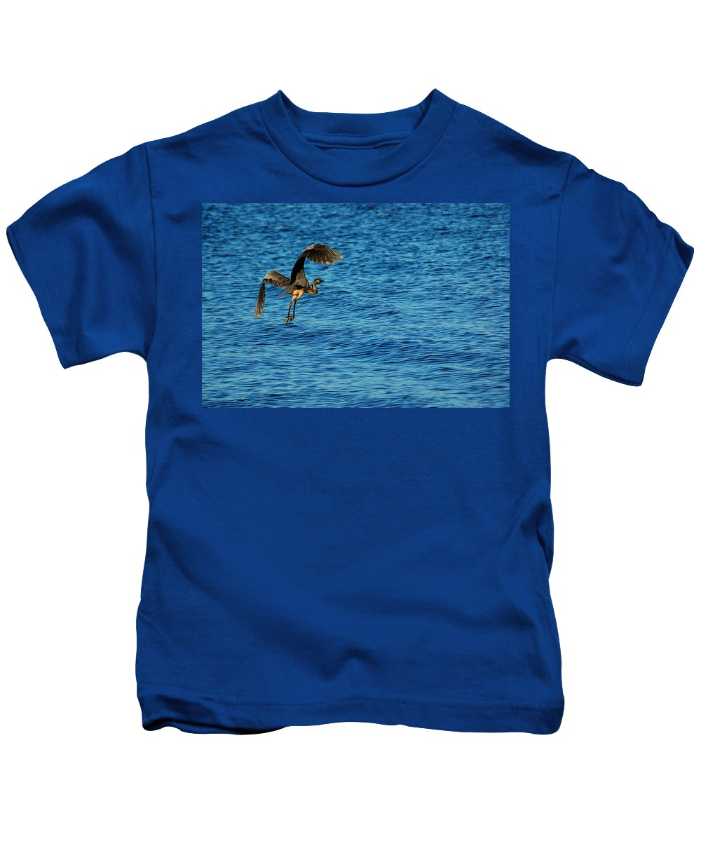 Pelican Kids T-Shirt featuring the painting Crane Lift Off by Michael Thomas