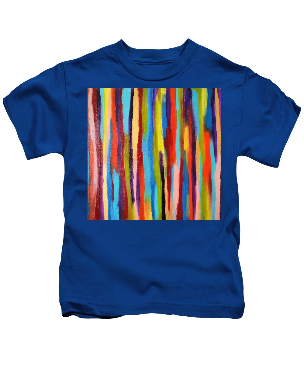 Abstract Kids T-Shirt featuring the painting Crayons by Danusha Grigar