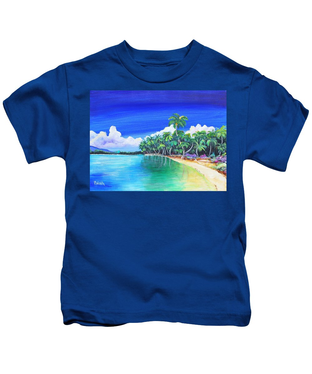 Crescent Beach Kids T-Shirt featuring the painting Crescent Beach by Patricia Piffath
