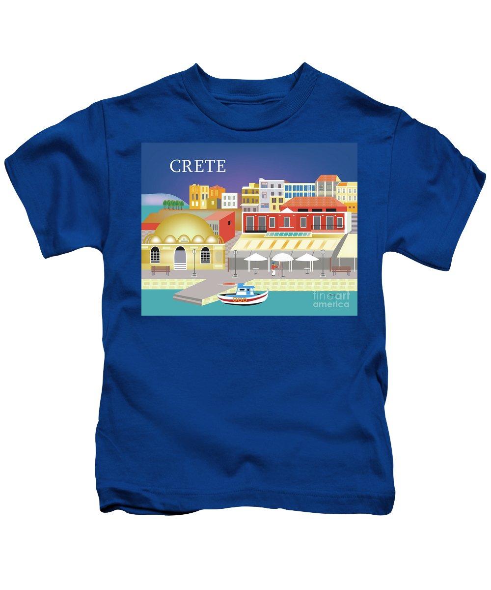 Crete Kids T-Shirt featuring the digital art Crete Greece Horizontal Scene by Karen Young
