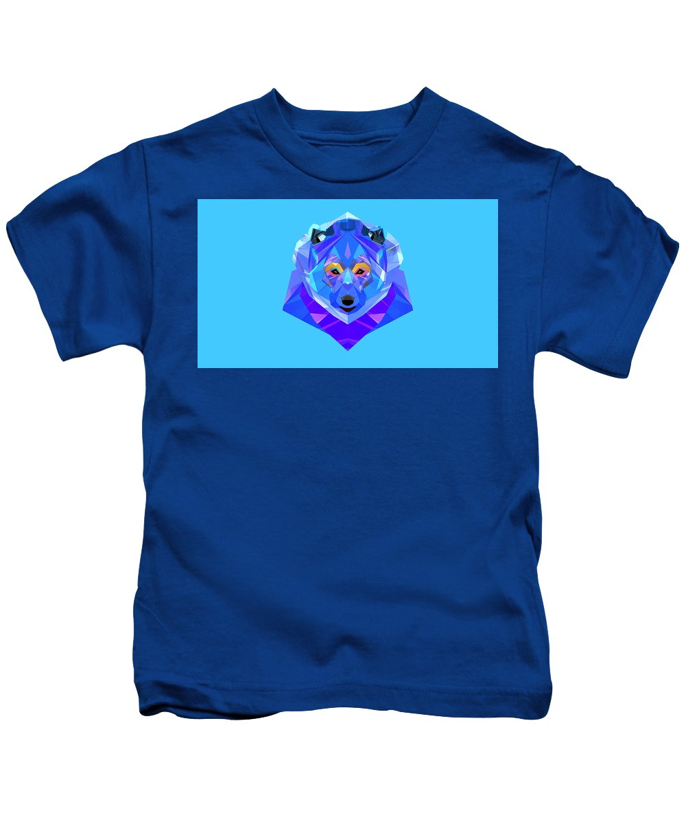 Low Polygon Kids T-Shirt featuring the digital art Crystal Bear - 90 by Jovemini ART