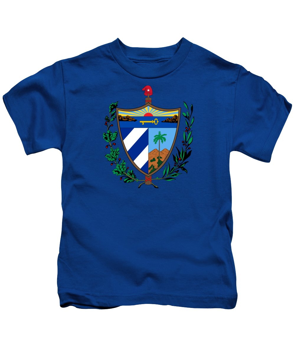 Cuba Kids T-Shirt featuring the drawing Cuba Coat Of Arms by Movie Poster Prints
