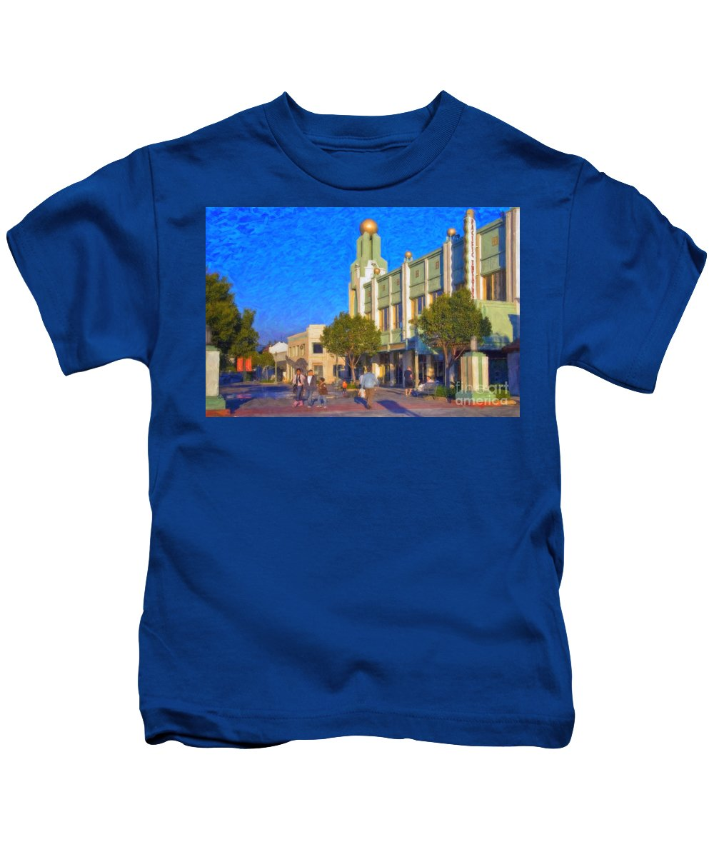 Culver City Plaza Theaters Los Angeles California Kids T-Shirt featuring the photograph Culver City Plaza Theaters  by David Zanzinger