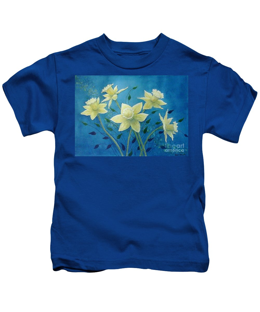 Daffodils Kids T-Shirt featuring the painting Daffodil Welcome by Judith Monette