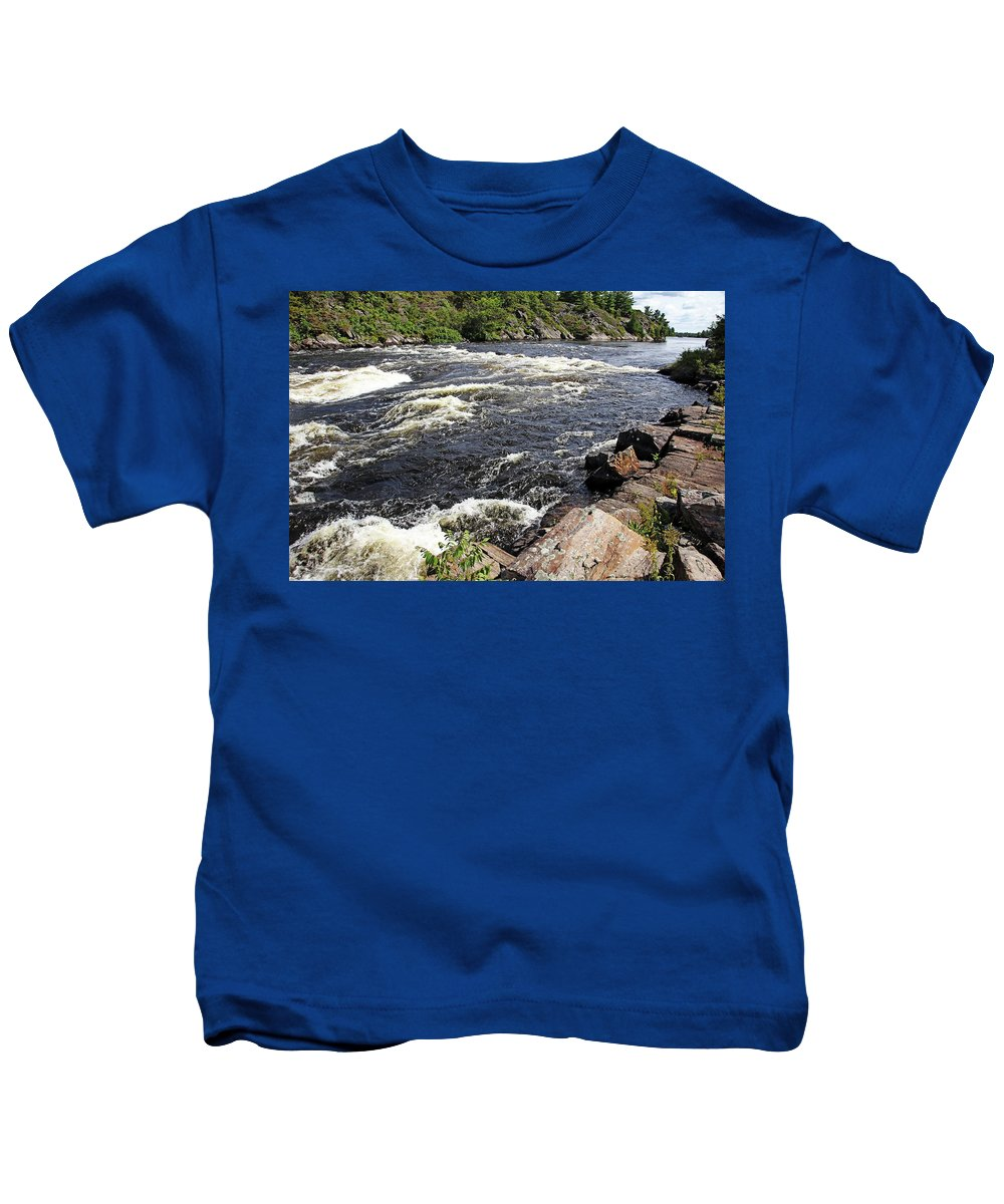 Dalles Rapids Kids T-Shirt featuring the photograph Dalles Rapids French River I by Debbie Oppermann