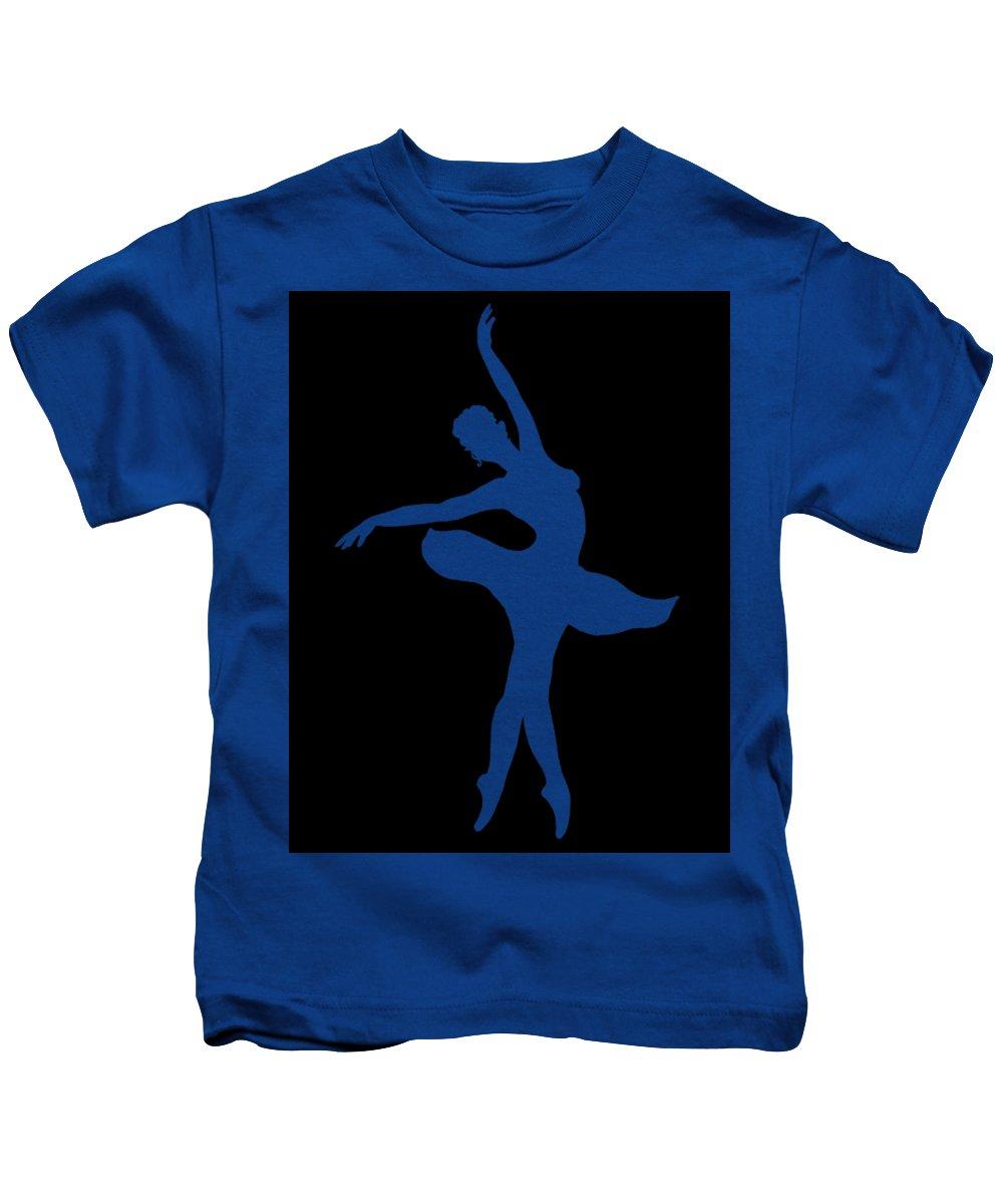 Ballerina Kids T-Shirt featuring the painting Dancing Ballerina White Silhouette by Irina Sztukowski