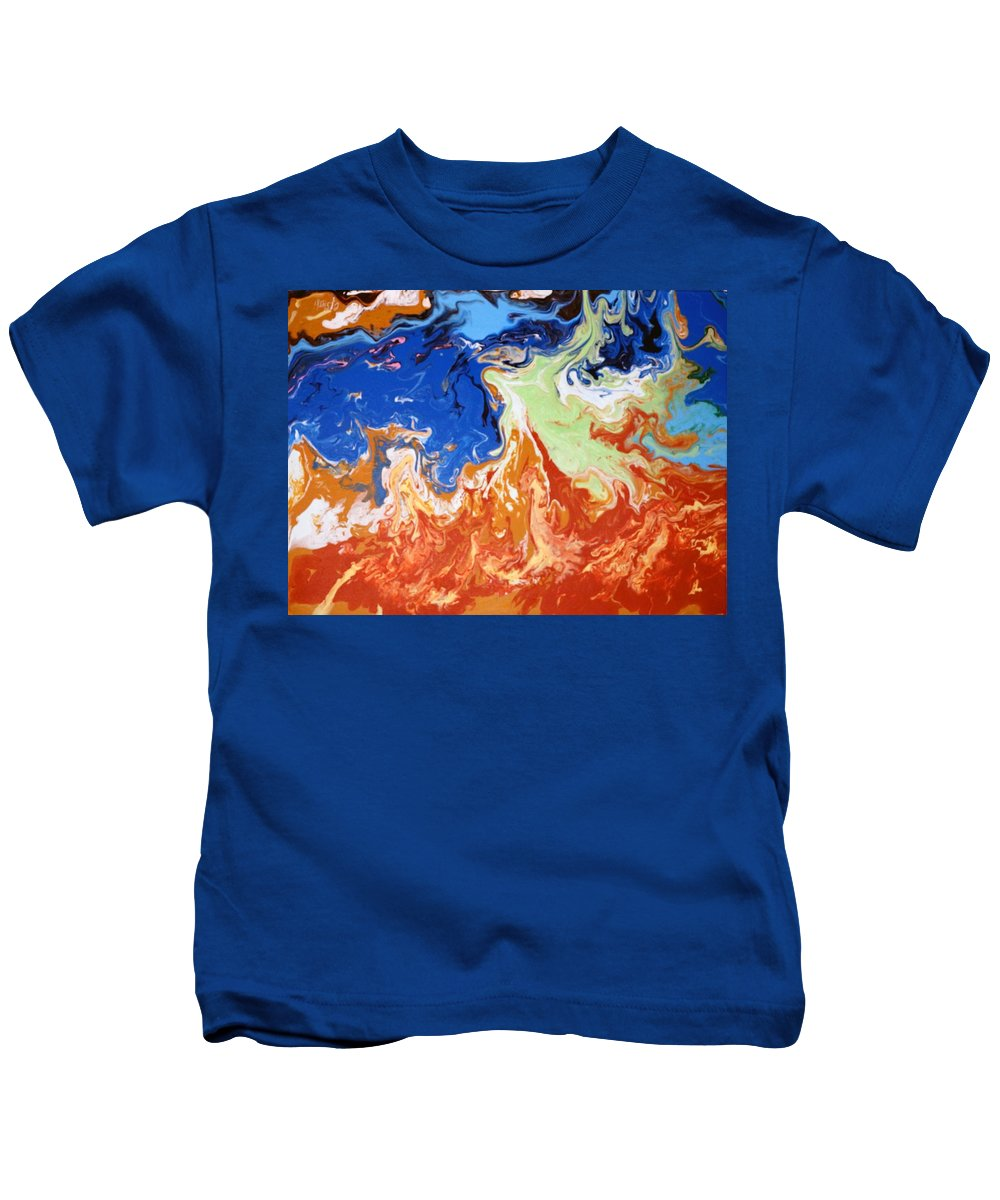 Abstract Kids T-Shirt featuring the painting Day At The Beach #3 by Carole Sluski