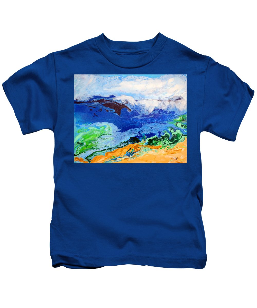 Abstract Kids T-Shirt featuring the painting Day At The Beach #6 by Carole Sluski