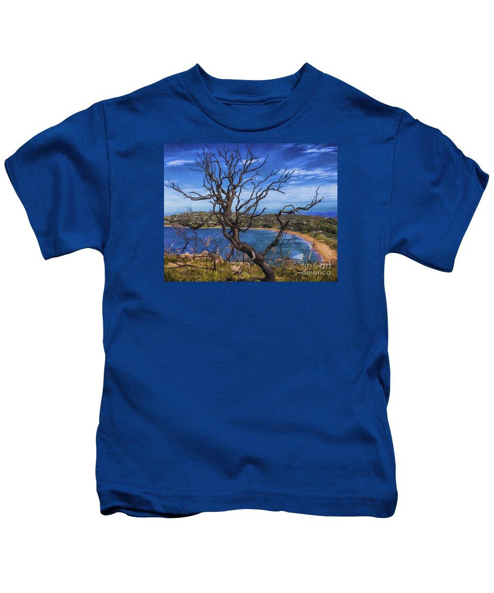 Bushfire Kids T-Shirt featuring the photograph Dead tree at Barrenjoey Headland by Sheila Smart Fine Art Photography