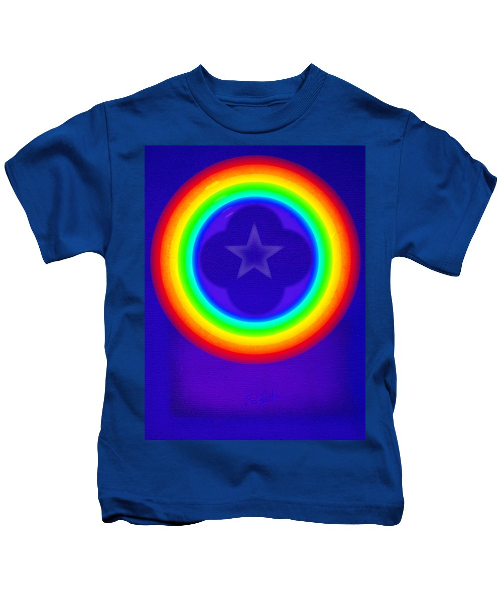 Abstract Kids T-Shirt featuring the painting Deep Blue See by Charles Stuart