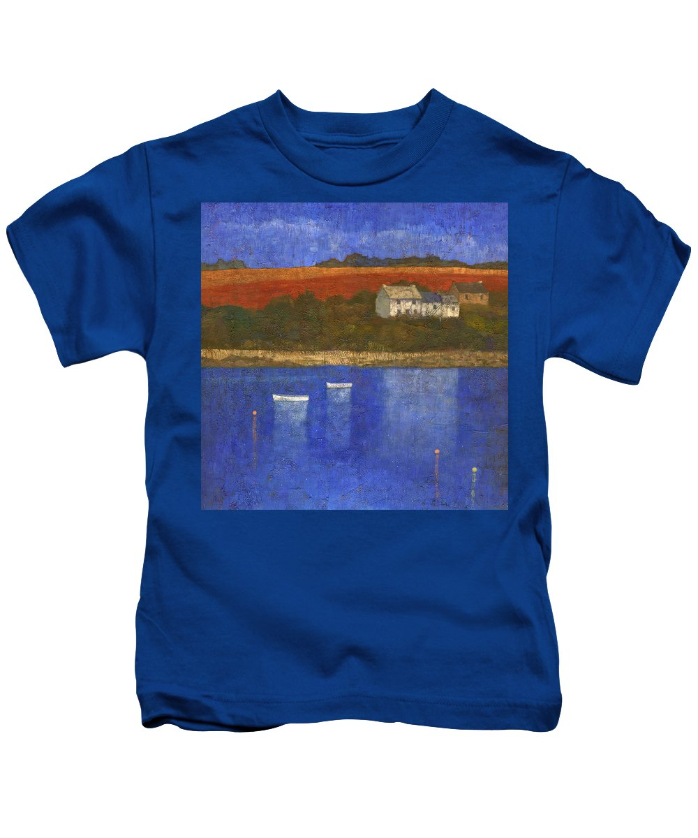 Boats Kids T-Shirt featuring the painting Deep Blue by Steve Mitchell