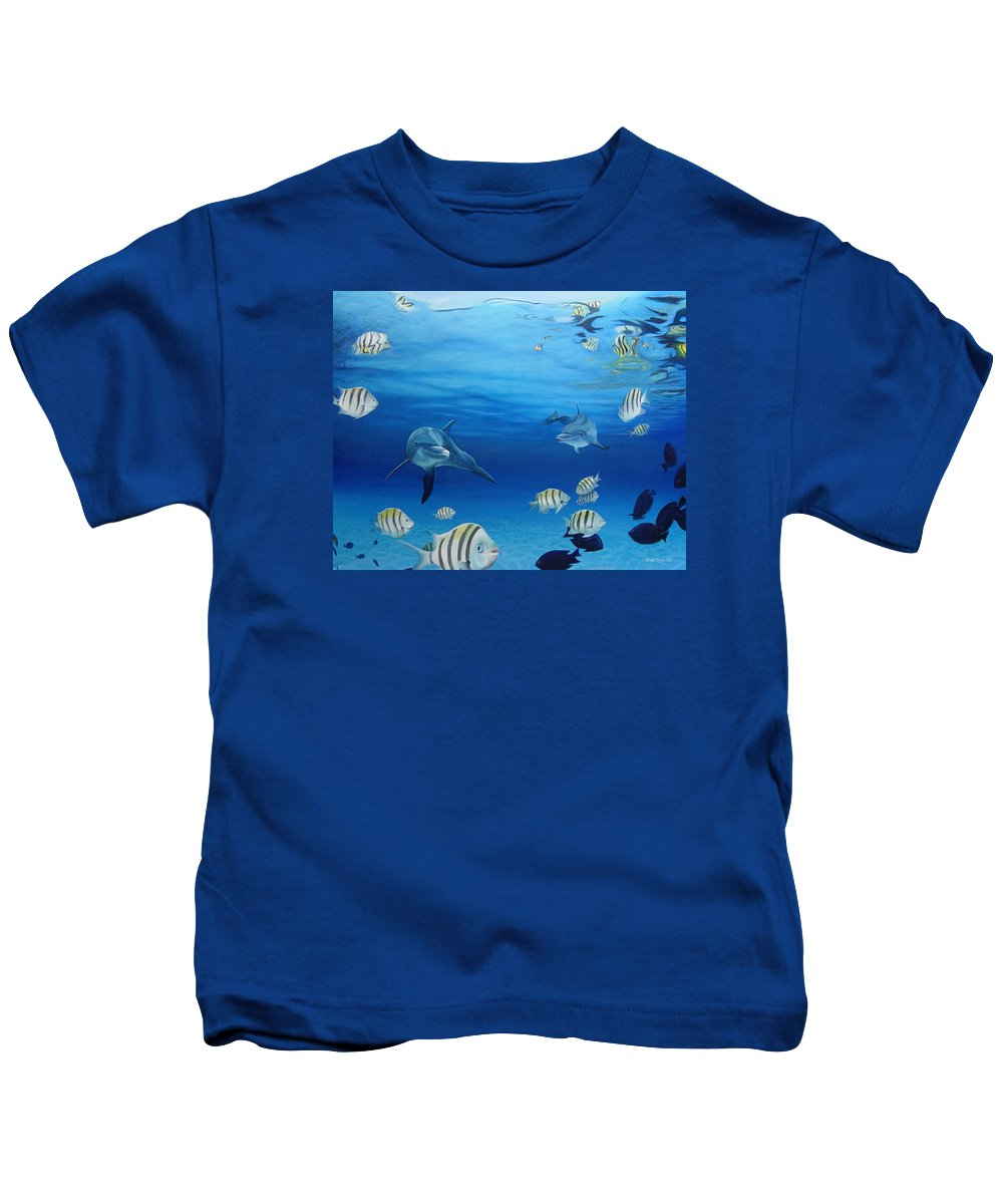 Seascape Kids T-Shirt featuring the painting Delphinus by Angel Ortiz