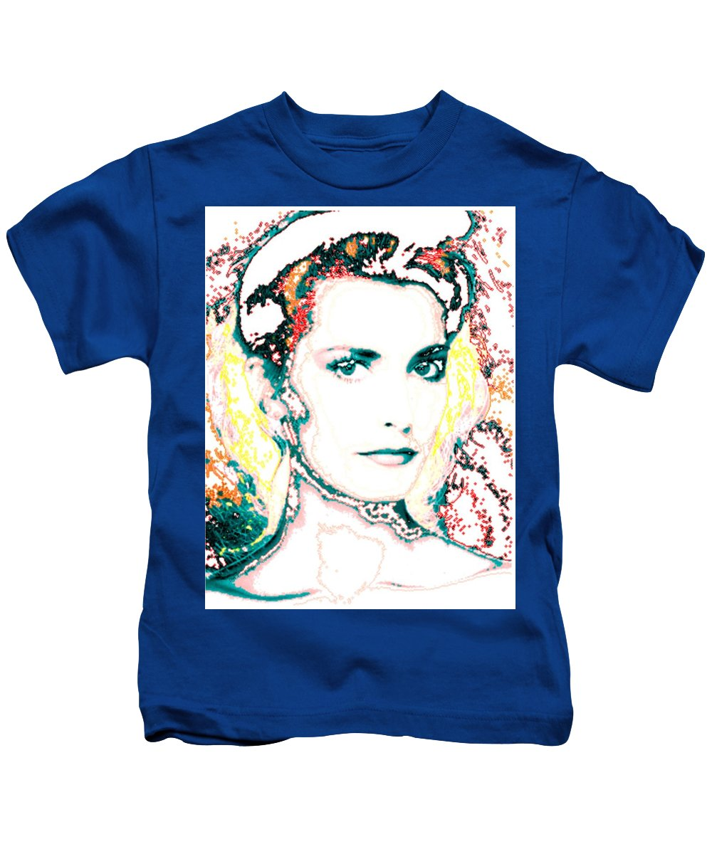 Digital Kids T-Shirt featuring the digital art Digital Self Portrait by Kathleen Sepulveda