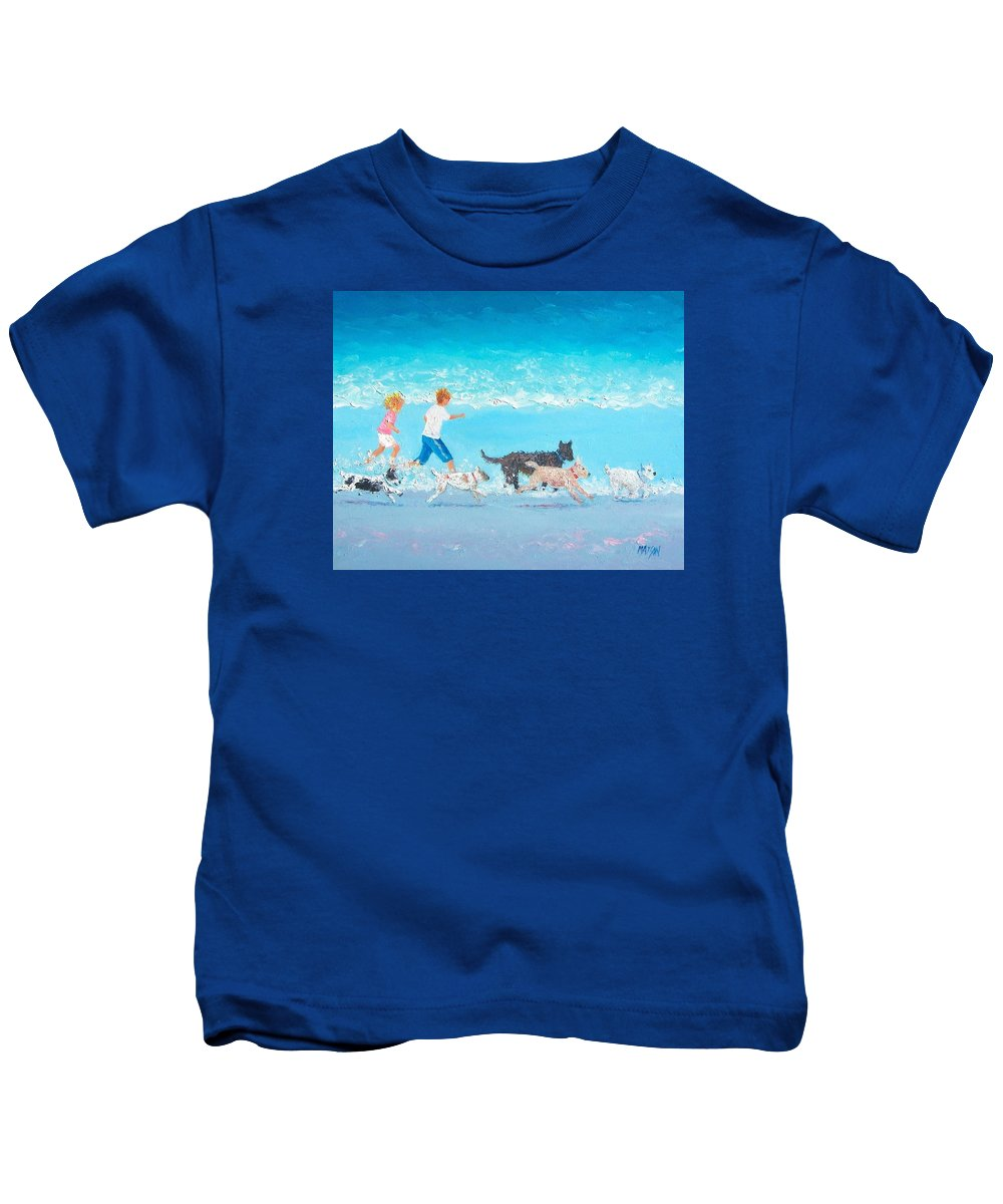 Beach Kids T-Shirt featuring the painting Dogs Day Out by Jan Matson